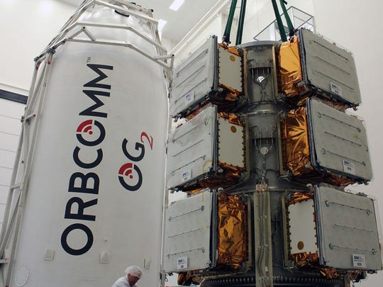 Orbcomm OG2 satellites before their encapsulation in a SpaceX Falcon 9 rocket's payload fairing.