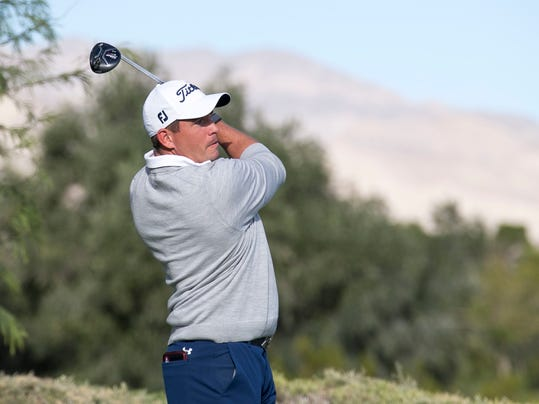 Robert Garrigus watches his tee shot from second hole during the second round of the Shriners Hospitals for Children Open golf tournament at TPC at Summerlin in Las Vegas, Friday, Nov. 3, 2017. (Richard Brian/Las Vegas Review-Journal via AP)