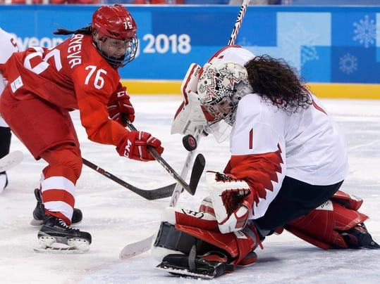 goalie Shannon Szabados (1), of Canada, deflects a shot by Russian athlete Yekaterina Nikolayeva (76) during the second period of the semifinal round of the women's hockey game at the 2018 Winter Olympics in Gangneung, South Korea, Monday, Feb. 19, 2018. (AP Photo/Matt Slocum)