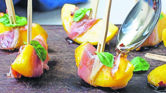 Country ham 'n' peach bites are a Southern twist on the classic Italian combination of melon and prosciutto.