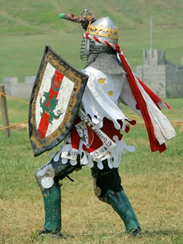 A knight of the SCA prepares for battle. The SCA will