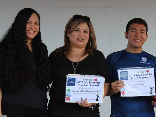 """Congratulations to Maria Ulloa Elementary School's teachers who have been voted as favorites by their students throughSylvan Learning Center's """"My Favorite Teacher"""" online voting from Nov. 15 to Dec. 8, 2017. Maria Ulloa came in 5th place with the most student votes. Pictured form left: Crystal Nelson - Sylvan Learning Center Director, Stephanie Martinez, Mr. Edusma, Debra Miller, Belinda Amparo, Amabel Conner. Not pictured: Annette Raguindin, Ms. Topasna."""
