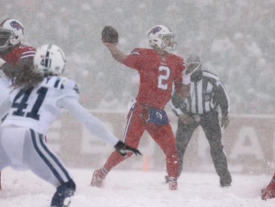 Bills quarterback Nathan Peterman sets up in the pocket