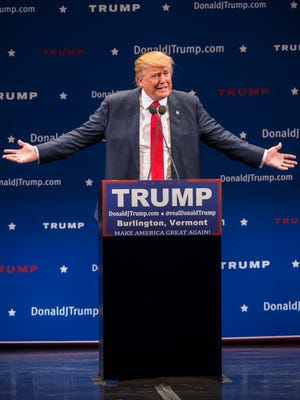 Republican presidential candidate Donald Trump speaks at the Flynn Theater in Burlington on Jan. 7.
