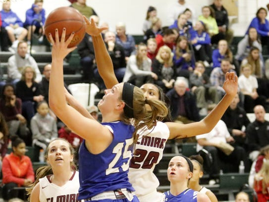 Jessica Schiefen of Horseheads goes up for a shot as