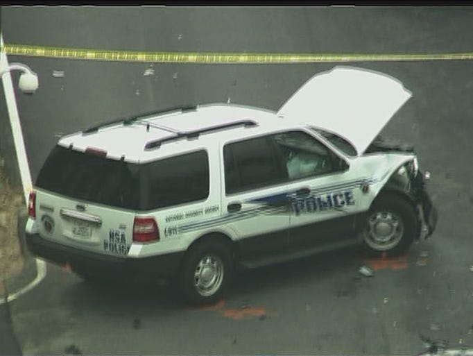Police car appears to have suffered damage at Fort