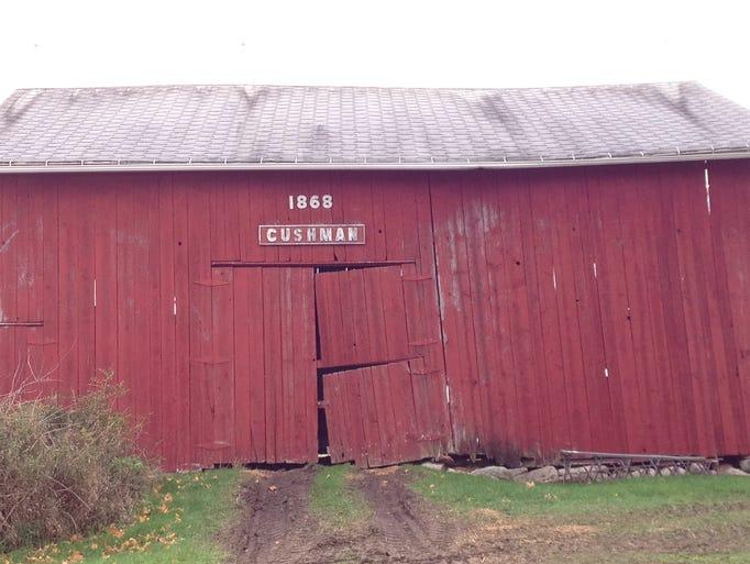 The 1868 Cushman barn on Clark Road in DeWitt Twp.