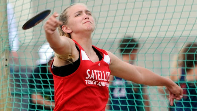 Holly Carter of Satellite competes in the discus during Wednesday's district 13-2A meet at Astronaut High School.