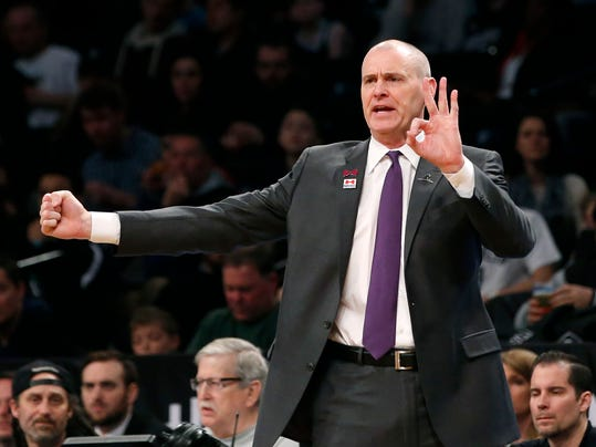 Dallas Mavericks head coach Rick Carlisle gestures in the first half of an NBA basketball game against the Brooklyn Nets, Sunday, March 19, 2017, in New York. (AP Photo/Kathy Willens)
