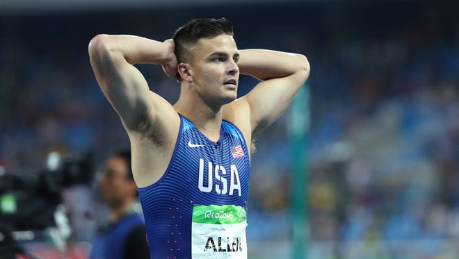 Aug 16, 2016; Rio de Janeiro, Brazil; Devon Allen (USA) reacts after competing during the the men's 110m hurdles final in the Rio Summer Olympic Games at Estadio Olimpico Joao Havelange. Mandatory Credit: Jason Getz-USA TODAY Sports