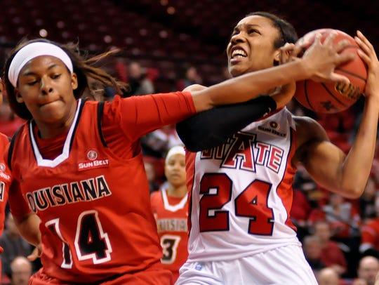 Arkansas State's Aundrea Gamble and UL's Adrienne Prejean
