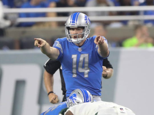 Jake Rudock calls a play against the Jets during the second quarter of the Lions' 16-6 exhibition win Aug. 19, 2017, at Ford Field.