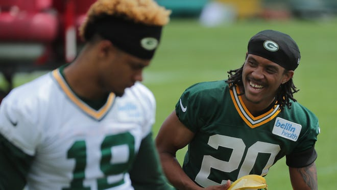 Green Bay Packers cornerback Kevin King (20) at OTAs on Thursday in Green Bay.