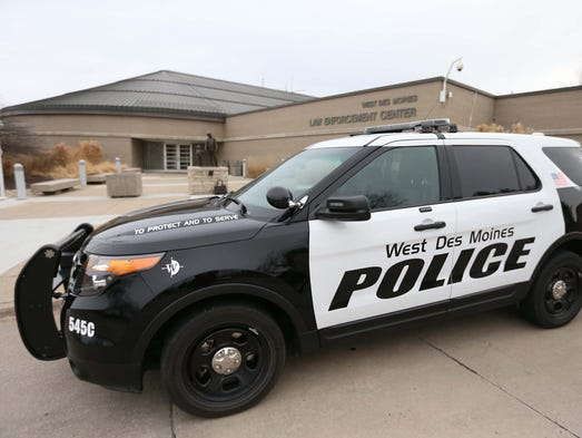 a west des moines police department vehicle on thursday