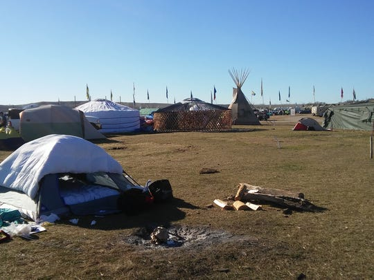 Tents, teepees and other lodging are spread across acres of land where protesters are fighting against a pipeline being built in North Dakota.