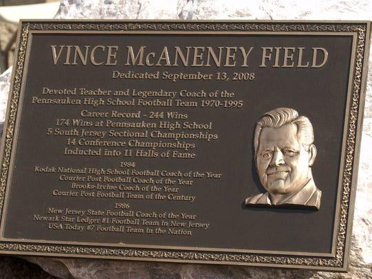 The Pennsauken High School football field honoring the school's greatest coach Vince McAneney during a ceremony in 2008.