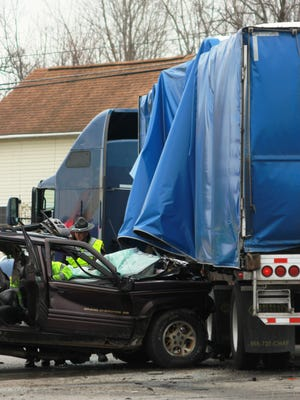 An SUV and semi truck crashed at the intersection of U.S. 40 and Etna Parkway Monday afternoon.