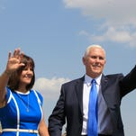 Pence offers pep talk at Nellis Air Force Base, stumps for Heller and Laxalt