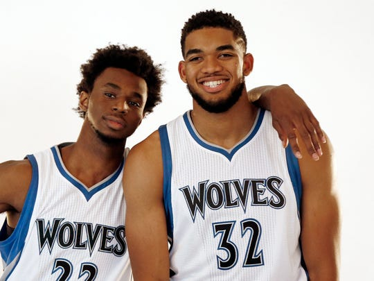 Minnesota Timberwolves' Andrew Wiggins, left, poses with Karl-Anthony Towns during the team's media day Monday, Sept. 26, 2016 in Minneapolis.
