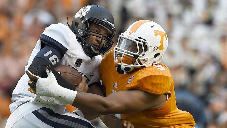 Tennessee's Derek Barnett, right, is one of the league's powerful defenders.