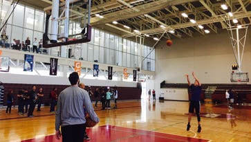 Devin Booker works on his free throws during practice on Friday in Mexico City.