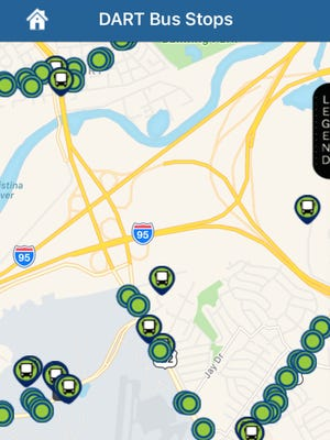 DART's real-time app, which launched in December, shows current bus and stop conditions.