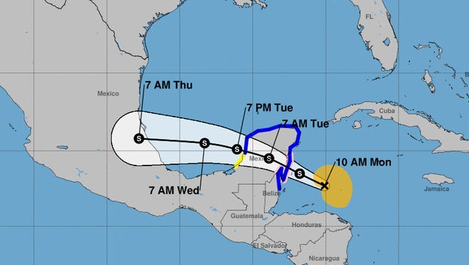 Tropical Storm Franklin is forecast to slam into the Yucatan Peninsula late Monday or early Tuesday.