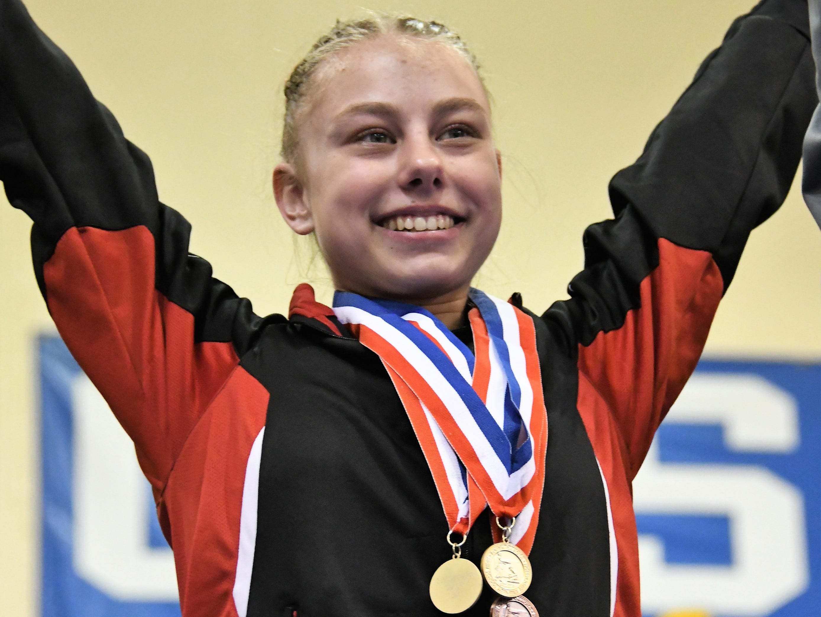 Deuel's Morgan Kwasniewski who claimed first on beam in Class A