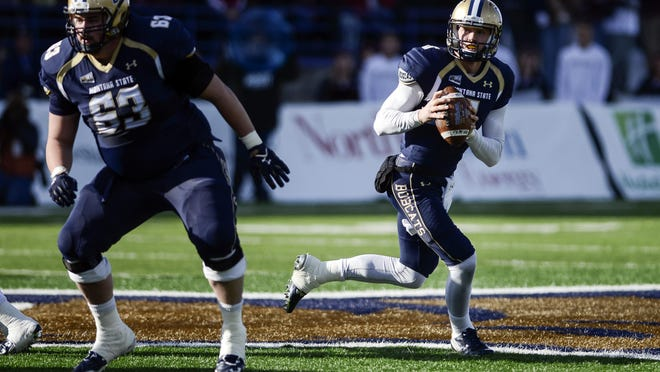 Montana State quarterback Dakota Prukop looks to pass against Montana during the first half of an NCAA college football game in Bozeman on Nov. 21.