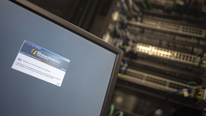 A computer running a Windows Server is seen connected into a network server in an office building in Washington, DC on May 13, 2017.