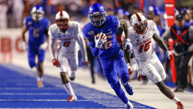 Boise State wide receiver John Hightower (16) turns up field runs away from the New Mexico defense for a 51-yard touchdown reception on Nov. 16, 2019, in Boise, Idaho. Boise State is scheduled to host Georgia Southern on Sept. 16, 2028.
