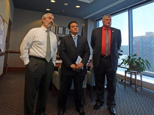 From left, John P. Carr, executive director school facilities management, Dr. Edwin M. Quezada, Superintendent of Yonkers Public Schools and Thomas Meier, Commissioner for the City of Yonkers Department of Public Works speak during a news conference in May regarding testing for lead in water at city schools.