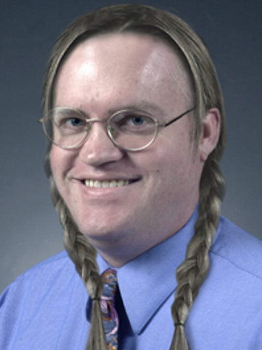 That's my boss, Chris Otto, with pigtails.