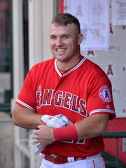 Millville's Mike Trout smiles before a game earlier