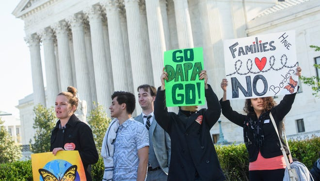 Thousands demonstrated when the Supreme Court heard arguments April 18 on President Obama's plan to defer deportation for millions of illegal immigrants.