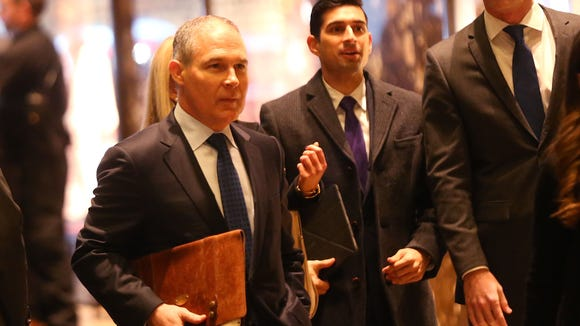 Oklahoma Attorney General Scott Pruitt arrives at Trump Tower on Dec. 7, 2016, in New York City.