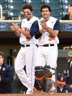 Illinois carried a 46-6-1 record and national RPI of 10 into Thursday's action. Illini players Adam Walton, left, and Jason Goldstein are pictured during the Big Ten Tournament. Iowa and Illinois did not meet during the regular season.