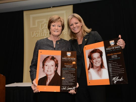 Pat Summitt and Michelle Marciniak during the Lady Vol Hall of Fame Inductions in Knoxville on Nov. 1, 2012. (Photo: Wade Rackley/Tennessee Athletics)