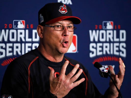 Cleveland Indians manager Terry Francona talks during a news conference, Monday, Oct. 31, 2016 for baseball's upcoming World Series Game 6 against the Chicago Cubs at Progressive Field Tuesday night in Cleveland. (AP Photo/Gene J. Puskar)