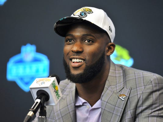 The Jacksonville Jaguars first round draft pick running back Leonard Fournette answers question during an NFL football news conference, Friday, April 28, 2017 at EverBank Field in Jacksonville, Fla. Fournette, who played at LSU, was selected fourth overall. (Bob Self/The Florida Times-Union via AP)