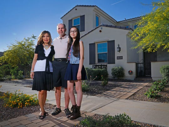 Victoria and Brian Della Valle moved to the Valley last year. They chose to buy a home in the growing Eastmark community in southeast Mesa to be near a school for Brianna, their daughter.