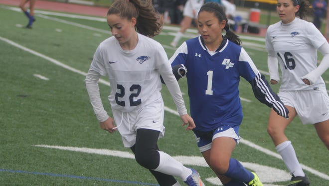Action during a Section 1 girls soccer Class B first round game between Putnam Valley and Dobbs Ferry at Putnam Valley High School on Saturday, Oct. 22nd, 2016. Putnam Valley won 1-0.
