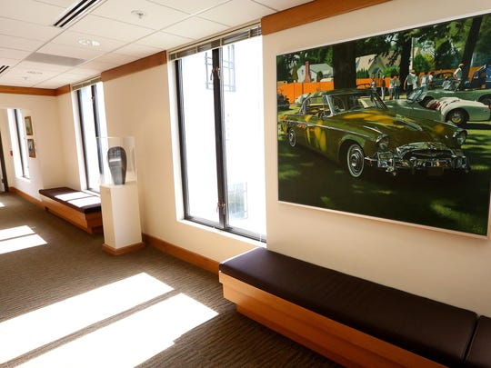 """Fifty-Six Studebaker"" by Lanny Little and other works of art line the walls of the House of Representatives wing at the Oregon State Capitol."