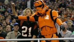 Bengals fans, including one dressed as a Stormtrooper