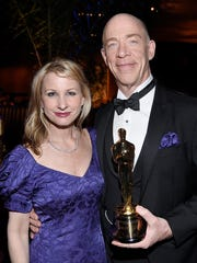 Actor J.K. Simmons, right, and his wife, Michelle Schumacher,