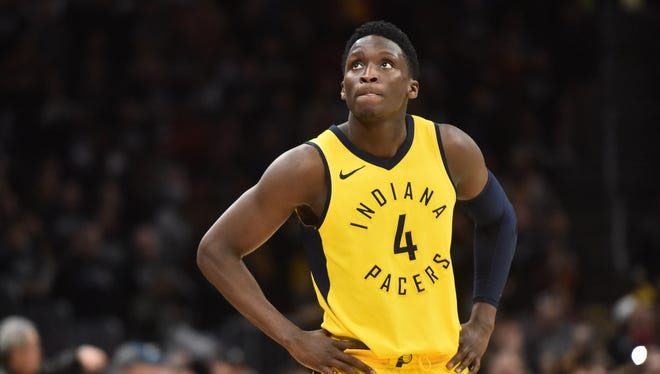 Indiana Pacers guard Victor Oladipo (4) looks at the scoreboard late in the fourth quarter in Game 7.