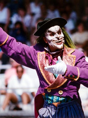 Undated: The Joker performs during the The Batman Stunt Spectacular at Six Flags Great Adventure.