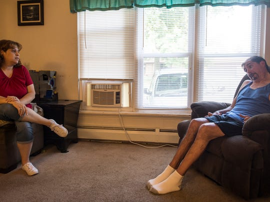 Karen and Mike Giardino talk in their home on Wednesday, July 6, 2016 about their need for a new handicapped van for Mike so he can go to his doctor's appointments. The family started a GoFundMe page.