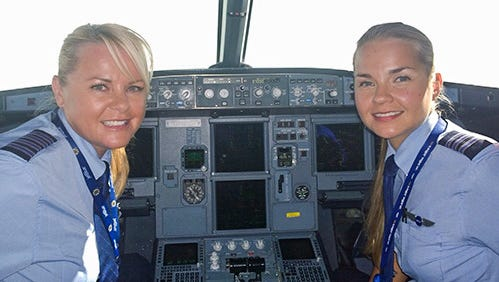 JetBlue pilots – and sisters – Pia and Anna-Maria Kymalainen will serve as Captain and First Officer on JetBlue's Power Trip from New York to San Francisco.