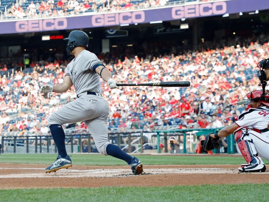 New York Yankees left fielder Giancarlo Stanton (27)